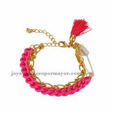 pulsera artesanal en color rosa de acero inoxidable para mujer-BRBTG98219