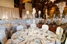Tiffany blue wedding decor at Westwood Plateau Golf & Country Club, in the Panorama Room