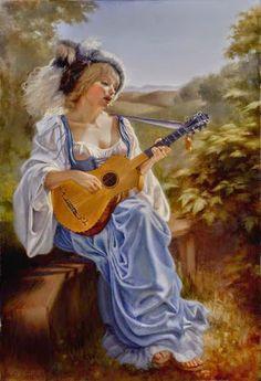 Pintura mulher tocando violão...