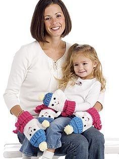 Two of a Kind - Step out in style in matching snowlady mittens, perfect for big sis and little sis, or mama and me! Skill Level: Easy  Designed by Michele Wilcox  Free PDF from freepatterns.com