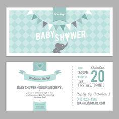 DIGITAL - Baby Shower Invitation - It's a boy elephant double sided