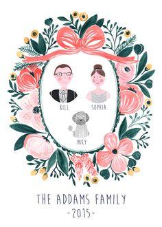 Custom Family Portrait Illustration Digital Family Art, Custom Couple Portrait by easyprintPD on Etsy