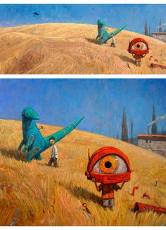 Shaun Tan • 'Rules of Summer (prelude to a parade)'; final piece above, work in progress image below. 2012