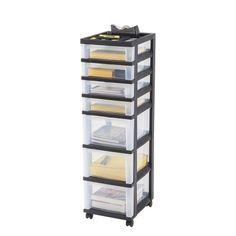 Buy IRIS 7-Drawer Rolling Storage Cart with  sc 1 st  Pinterest & Iris(R) Mini Clear Plastic Storage Cart Legal Size Clear/Black ...