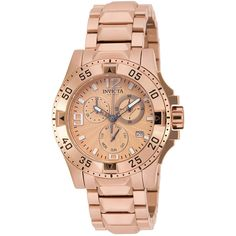 Invicta Excursion Womens Rose-Tone Stainless Steel Chronograph... ($295) ❤ liked on Polyvore featuring jewelry, watches, leather-strap watches, 18k watches, invicta watches, bracelet watch and chronograph watches