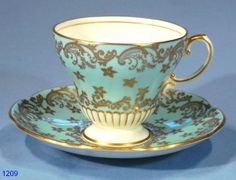Foley Blue and Gold Vintage Bone China Tea Cup and Saucer