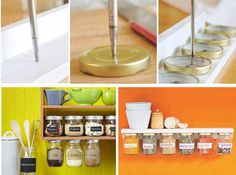 Screw lids to underside of shelf to store staples and save space.