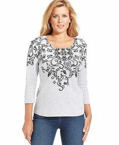 Karen Scott Three-Quarter-Sleeve Printed Top