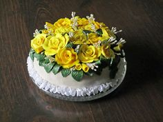 Bed of Roses Custom Polymer Clay Cake by BBExpressions on Etsy