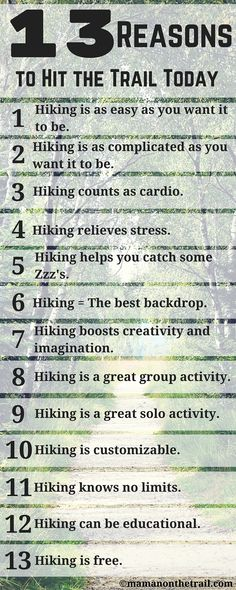 13 Reasons to Hit the Trail Today! There are more than a dozen reasons to hit the trail today! Read on to learn about the benefits of hiking and why it's a great activity for everyone. Hiking Tips, Camping And Hiking, Hiking Gear, Hiking Backpack, Outdoor Camping, Backpacking Tips, Outdoor Gear, Hiking Checklist, Hiking Training
