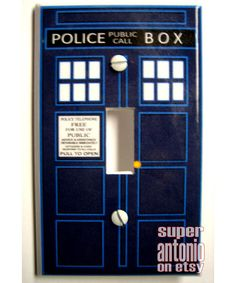 Blue police box light switch cover. This will go in the playroom by the Tardis door!