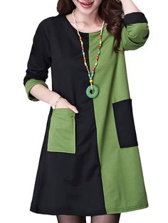 Women Vintage Contrast Color Long Sleeve Pocket Cotton Dresses