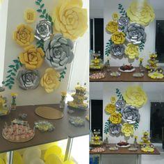 Painel flores gigantes de papel festa adulto