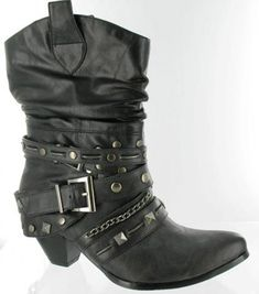 713cdce2600 Helen s Heart Boots with Bling Black Ladies Short Boots with Gun Metal  Studs.