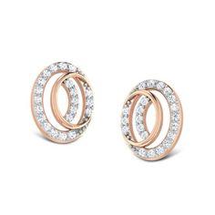 Circle Crescent Stud Earrings