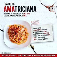 Een idee voor de Italiaanse restaurants in Nederland!! Restaurants in Italy are being urged to donate 2 euros from every serving of pasta amatriciana to the Red Cross to help those affected by the earthquake.. it would be great if we could all host an Amatriciana dinner party to help raise funds.  #Amatriciana #Amatrice #redcross #ristoranti #italiani