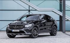 Descargar fondos de pantalla Mercedes GLC43 Coupe AMG, 4k, 2018, deportes crossover, off-road coupe, negro GLC Coupe, los coches alemanes, Mercedes