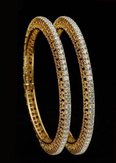 Evergreen Single Line Party / Wedding Bangles Pair in 18k Gold with Real Diamond