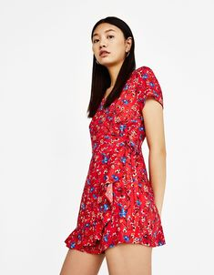 d2c67ac31bb Floral jumpsuit with ruffles - Dresses - Bershka Turkey