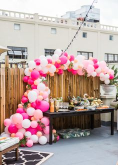 Baby Shower Ideas: Pink + Coral Balloon Garland