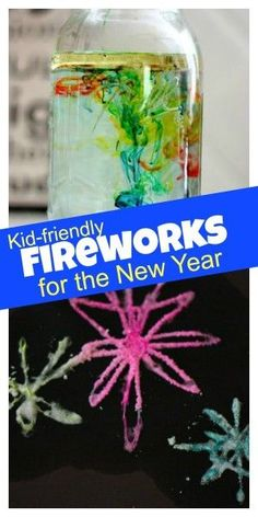 Fireworks for the New Year! Kid friendly & in a jar. So cool! They'll love making these. Pinned by The Sensory Spectrum pinterest.com/sensoryspectrum