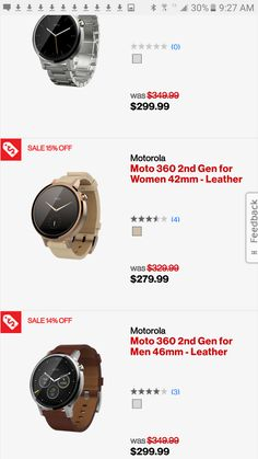 Moto 360 Men And Women's Watches and 360 Sport Slashed $50 At Verizon