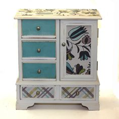 Wood Jewelry Box Upcyled Gray Blue Flowers Plaid by KotiBeth, $60.00