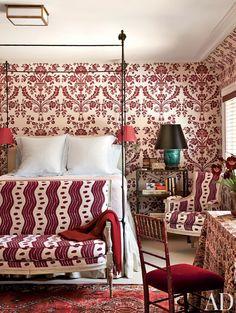 Damask Pattern | Master Bedroom | Layered Style | Miles Redd | Interior Designer | Wallpaper Ideas | Home Decor