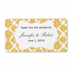 Sunflower and White Damask Water Bottle Label