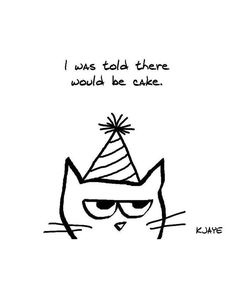 Angry Cat Hates Birthdays Set of 8 Large by FunkyChicDesigns