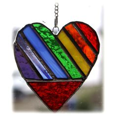 Love Heart  (Rainbow)  Stained Glass Suncatcher Mother's Day Mothers £10.50