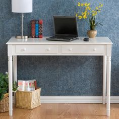 Southern Enterprises Crisp White 2-Drawer Laptop/Writing Desk - Unleash the writer in you with the Crisp White 2-Drawer Laptop/Writing Desk. Whether you're working on your first novel or just writing a quick email,...