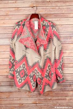 Very thick fabric. Geometric tribal aztec print design in the perfect combination of colors that make a statement without going over the top. Look effortlessly chic in this gorgeous cardigan. Grey And Beige, Pink Grey, Hot Pink, Little Miss Perfect, Tribal Print Cardigan, Valentine's Day Outfit, Pink Outfits, Open Front Cardigan, Tribal Prints