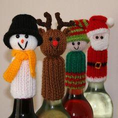 Tic Tac Toys/Wine Bottle Toppers - Christmas Knitting pattern by Amalia Samios Wine Bottle Covers, Christmas Wine Bottles, Christmas Knitting Patterns, Holiday Crochet, Christmas Makes, Knitting Projects, Christmas Crafts, Christmas Door, Tic Tac