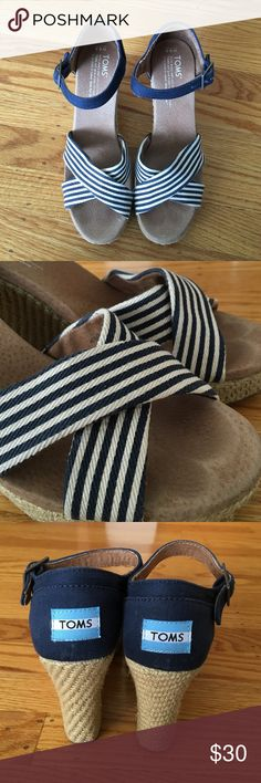 Toms striped wedge sandals. Toms navy and white stripe wedge sandals with buckles. Toms Shoes Platforms