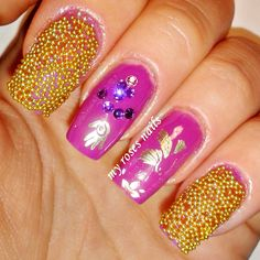 My boyfriend does my nails :) Violet, caviar and gold stamping ^^