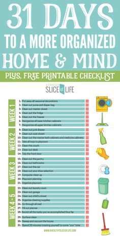 31 Days to a More Organized Home & Mind is part of Organization Printables Tips - These are 31 tasks that you can do for a more organized home and mind In just one month you'll accomplish so much! House Cleaning Checklist, Cleaning Hacks, Cleaning Schedule Printable, Cleaning Schedules, Cleaning Recipes, Deep Cleaning, The Flylady, Clean Out, College Problems