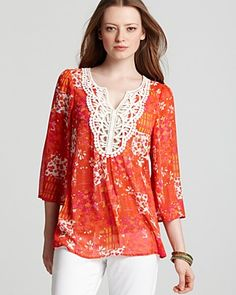 Red Orange Tunic with Crochet Bib |Bloomingdale's