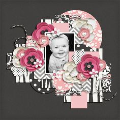Dots and Bows Baby Girl Scrapbook, Kids Scrapbook, Scrapbook Journal, Scrapbook Page Layouts, Scrapbook Cards, Scrapbooking Ideas, Smash Book Pages, Paper Bag Album, Middle School Art