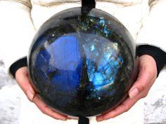 28.4lb HUGE NATURAL Labradorite quartz crystal sphere ball healing
