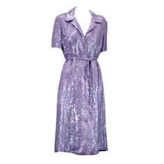 Halston Iconic Lilac Sequinned Shirtdress