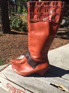 Corso Como Cognac Braided Pointy Toe Wedge Heel 2 Tone Leather Wide Calf 8 5 | eBay