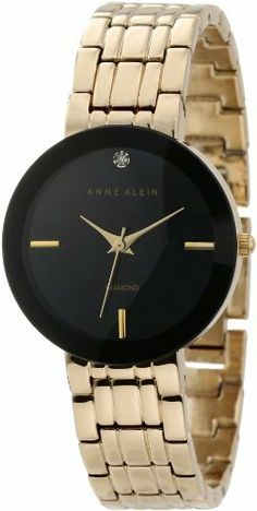Anne Klein Women's AK/1110BKGB Diamond Dial Black Wall-To-Wall Gold-Tone Bracelet Watch Anne Klein. $59.99. Gold-tone hour, minute and second hands. Black framed, domed wall-to-wall mineral crystal. Gold-tone adjustable link bracelet with jewelry clasp closure and extender. Glossy black dial with genuine diamond at 12 o'clock and gold-tone index markers at 3 6 & 9 o' clock. 29 mm round gold-tone case. Save 20% Off!