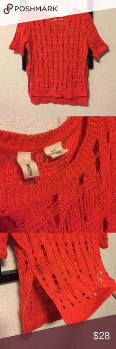 Moth (Anthropology) Open Knit Top Orange open knit short sleeve top. High low with large slits up both sides. Anthropologie Tops Blouses