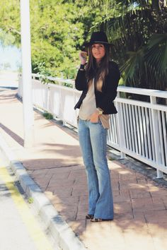 like the flares and hat together with the beige and the leopard print pumps