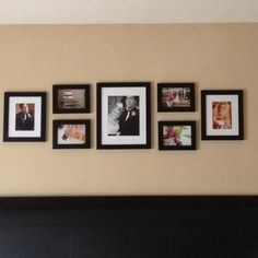 Wedding photos above bed...maybe interspersed with bird frames from target?