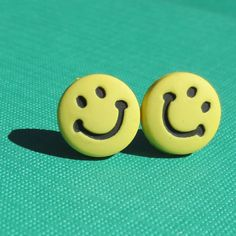 Smiley Face Post Earrings Blue Stud Jewelry Purple Yellow Green Pink Free Shipping Neon Cute Colorful Happy Hace Joy Bright by CathysUniqueCreation, $5.50