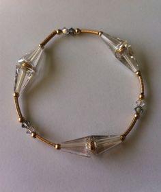 Bracelet / Pulsera de cristal gris tipo swarovsky con oro tipo golfie by BeOriginal