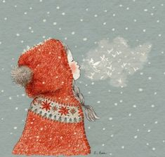 Image shared by Naty. Find images and videos about girl, cat and wallpaper on We Heart It - the app to get lost in what you love. Fuchs Illustration, Winter Illustration, Christmas Illustration, Children's Book Illustration, Watercolor Leaf, Watercolor Painting, Art Carte, Creation Art, Photo Images