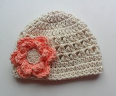 Crochet baby Hat Girls Cotton Beanie Hat Ecru and by Karenisa